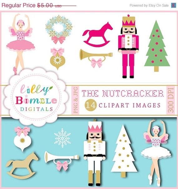 50% off Nutracker ballet clipart ballerina, sugar plum, Christmas images INSTANT DOWNLOAD