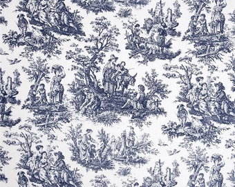 Waverly Rustic Toile Navy White Toile Home Decorating Fabric BTY