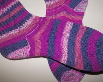 SALE . Hand knit socks . Purple Pink socks . Striped socks . No wool socks . Acrylic knit socks . Handknit socks . Berry Bush . Small