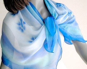 Sky Blue Scarf, Aqua Powder Blue, Lucite Blue Wrap, Hand Painted Silk, Scuba Turquoise, Petite Sheer Wrap, Unique Hand Dyed, Jossiani