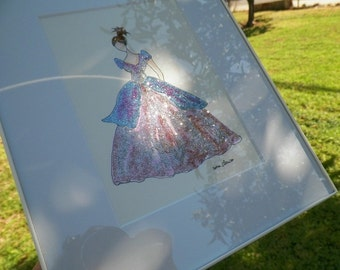 NEW White Frame Princess Glamour Glitter Gown Watercolor Fashion Dress Wedding Art Original Painting by Artist Debra Alouise