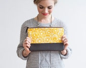 MOVING SALE Anemone Clutch in Yellow Ocher, Hand Printed, Anna Joyce