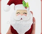 Santa Claus Ornament Tutorial - Felt Christmas Ornament - Digital Sewing Pattern - PDF File Instant Download