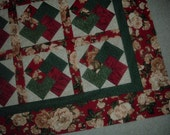 Quilt top to Finish Card Trick Beautiful Red Floral 41 x 51 inches