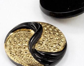 23mm Gold on Black Deco Swirl Cabochon #FGB070