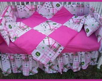 SALE! New 7 piece JOHN DEERE baby Crib Bedding Set with pink madras plaid fabric