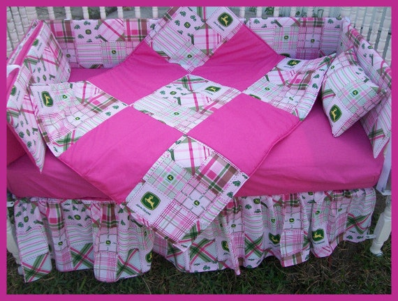 New JOHN DEERE Baby Crib Bedding Set With Pink MADRAS Plaid