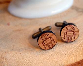wooden robot cufflinks - aged brass tone - cuff links- wood