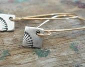 Horizon Earrings - Handmade. Mixed Metal. 14kt Goldfill & Oxidized fine silver