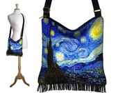 Crossbody Hobo Bag in Van Gogh Starry Nite, Sling Bag Hippie Fringe Purse, Fabric Slouch Bag, zipper, pockets, blue yellow black RTS