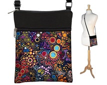 Small Cross Body Purse  Crossbody Bag Sling Shoulder Bag Fits eReaders Colorful Dots Bubbles RTS
