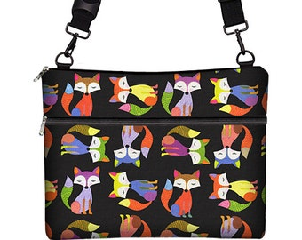 SALE Laptop Bag w/ Shoulder Strap Cute Hipster Foxes MacBook Pro Retina Case, 13 inch Laptop Sleeve, blue orange, 13 mac / air / retina MTO