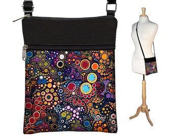 Small Cross Body Purse  Crossbody Bag Sling Shoulder Bag Fits eReaders Colorful Dots Bubbles  orange blue purple red yellow green MTO
