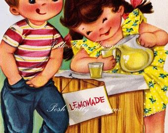 Making Lemonade Children's Vintage Greetings Card Digital Download Printable Image (442)
