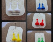 Game Piece Earrings- Choose White, Yellow, Blue, Green and Red