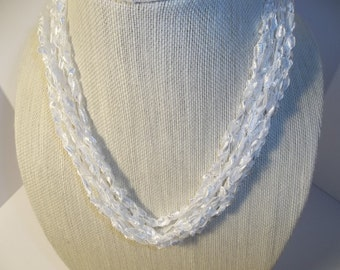 White Snow White Lace Necklace Crochet  Necklace  Trellis Ribbon Lace Fiber  Spring Summer Necklace White Ribbon