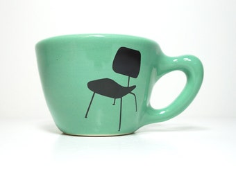 12oz cup shown here in Blue Green with an Eames Chair print - Made to Order / Pick Your Colour