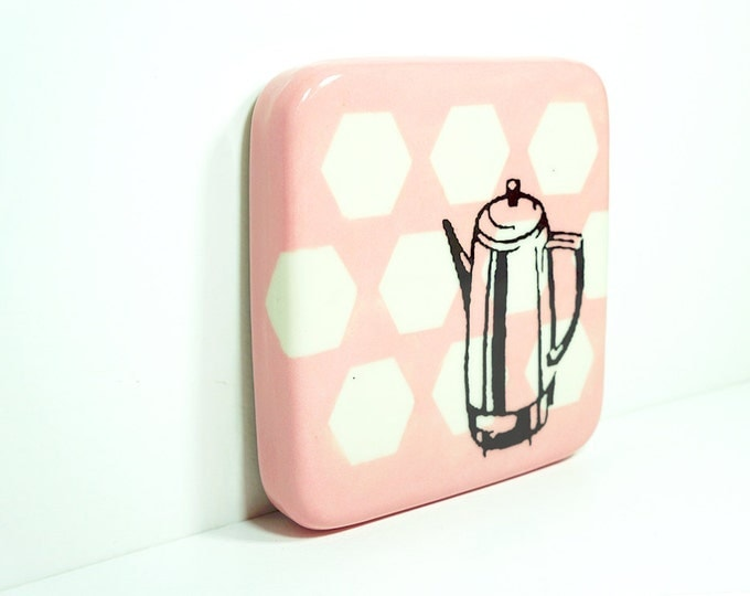 tile with a percolator on pink with with white hexagons, made to order.
