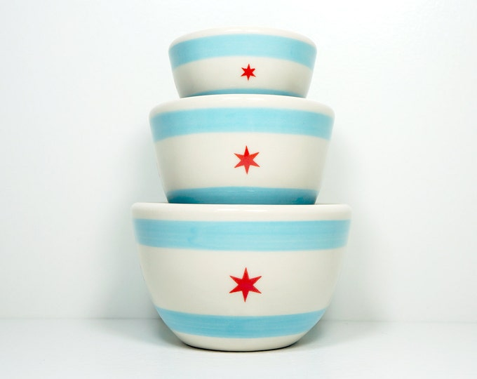 Featured listing image: The Urban Set Chicago Flag.  Made to Order.