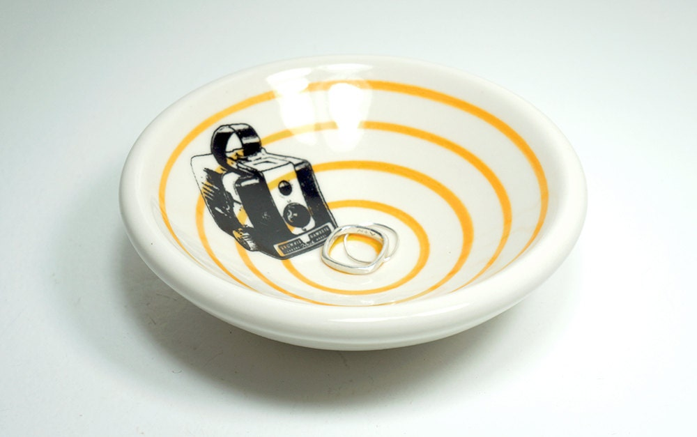small dish, with a brownie camera on orange pinstripes, made to order / pick your colour