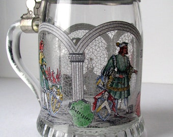 Vintage - Beer Stein - Beer Mug - Patrizier - West Germany - Glass - Pewter - German - Stein with Lid - Old - Beer Lover - Bar Decor