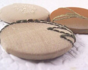 Taupe buttons,  fabric covered buttons , embroidered buttons, size 75 buttons