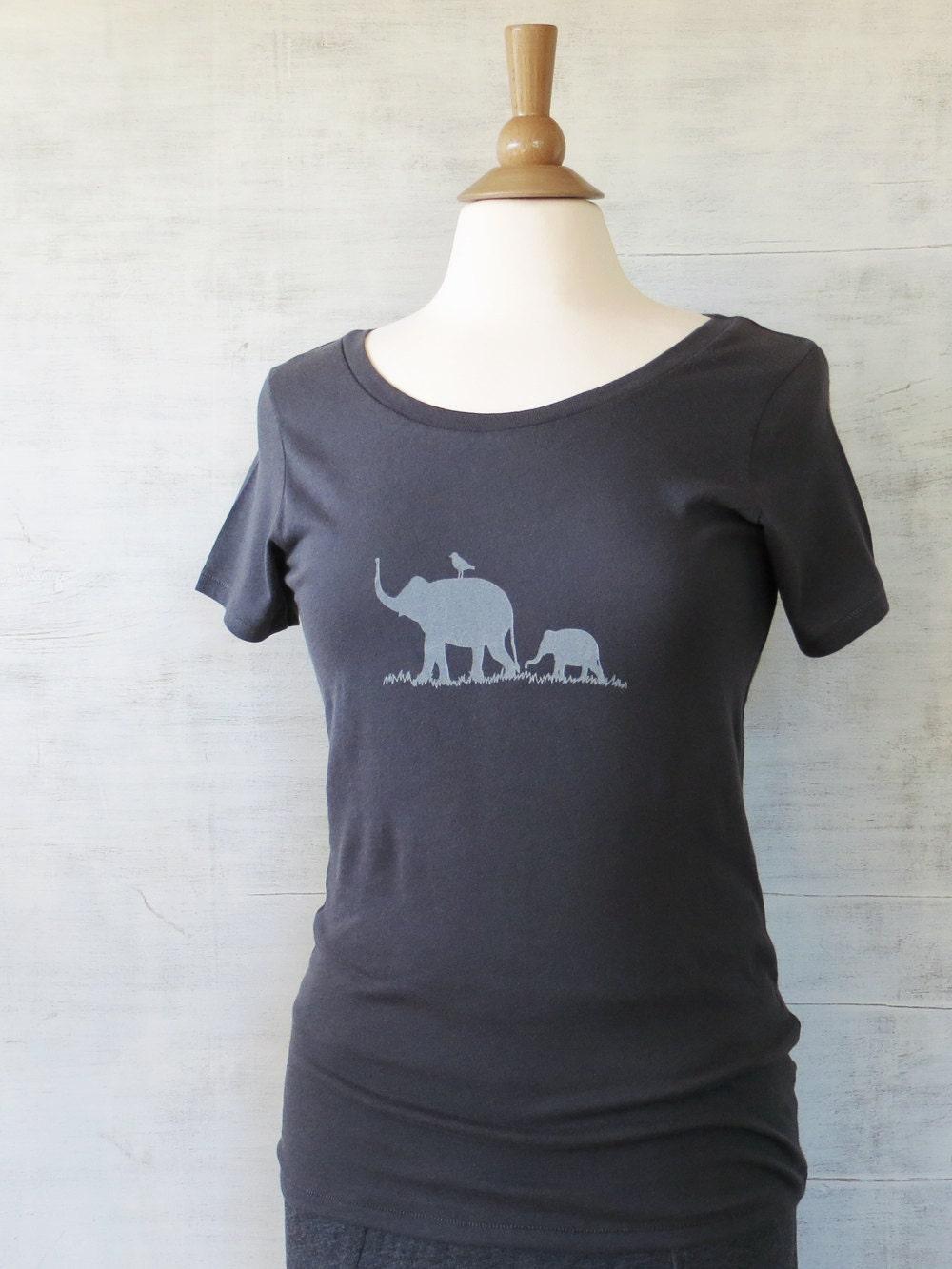 Womens Organic Cotton T Shirt Womens Graphic Tee Gray