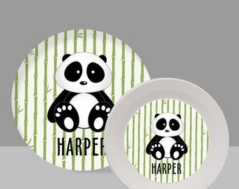 Panda Melamine Bowl or Plate Custom Personalized with Childs Name
