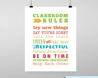 Classroom Rules Printable Wall Art by BitsyCreations Back to School Teacher Instant Download