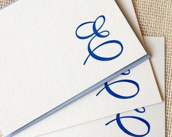Letterpress Monogram Card Set - Script