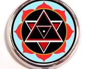 Shiva Yantra Pill Box Case Pillbox Sacred Geometry Hindu Spiritual Symbol Hippie Festival