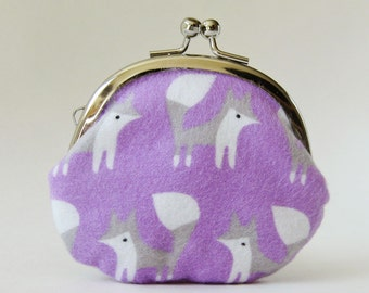 Fox coin purse - foxes on orchid purple flannel, handmade purse, kiss lock purse, gray fox