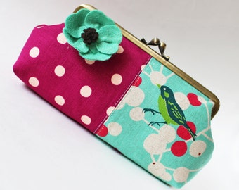 Kiss lock clutch purse bird aqua blue magenta polka dots flower pin spring bright pink frame purse makeup bag  sea green