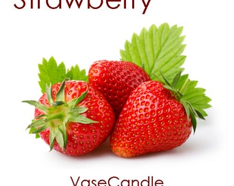Strawberry Vase Candle Refill - Scented, Soy, Paraffin Wax, Paper Core, Self-trimming Wick, Refillable Vase, 50 Hour Burn Time Each