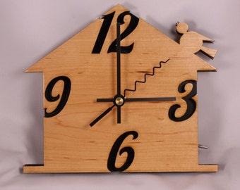 SALE Laser Cut Hand Made Hardwood Birdhouse Wall Clock with LED Night Light