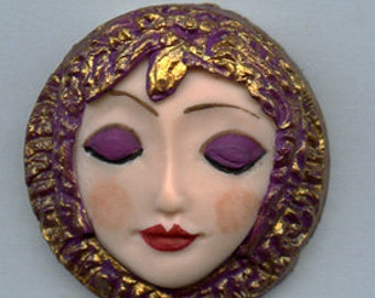 Polymer Clay Art Nouveau Plum with Gold  Goddess Face Cab ANGL 1