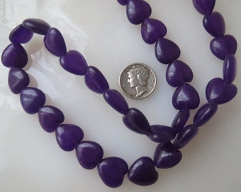 Purple Jade Heart Beads 12mm, Half Strand