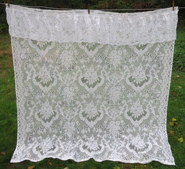 vintage white floral lace shower curtain with built in ruffled. Black Bedroom Furniture Sets. Home Design Ideas