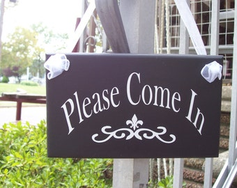 Please Come In Wood Vinyl Sign Alternative Open Welcome Invite Greet Cottage Chic Contemporary Modern Style Business Office Supply Plaque