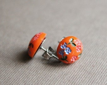 Orange with Flowers Vintage Glass Post Earrings - Surgical Steel Posts
