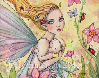 Motherhood - Mother and Baby Fairy Illustration - Watercolor Fine Art Giclee Print 9 x 12 - Molly Harrison Fantasy Art