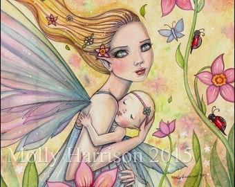 Motherhood - Mother and Baby Fairy Illustration - Watercolor Fine Art Giclee Print 16 x 12 - Molly Harrison Fantasy Art