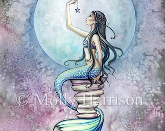Magic - Mermaid Watercolor Illustration - Fine Art Giclee Print 9 x 12 - Molly Harrison Fantasy Art