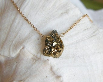 Druzy on Gold Filled Chain Necklace