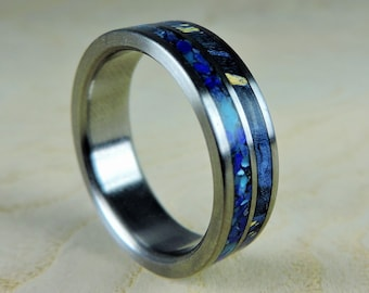 Titanium Wedding Ring, Blue Wood and Stone, Wood Ring, Titanium Ring, Mens Ring, Womens Ring, Custom Made Ring, Turquoise Ring, Stone Ring