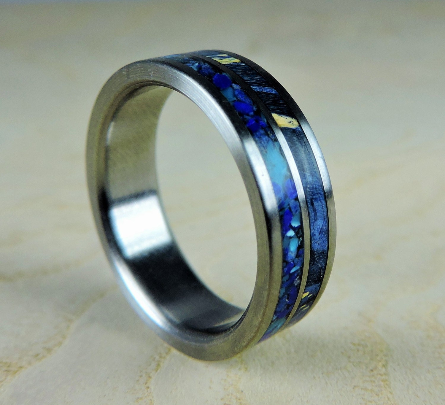 Titanium Wedding Ring Blue Wood and Stone Wood Ring