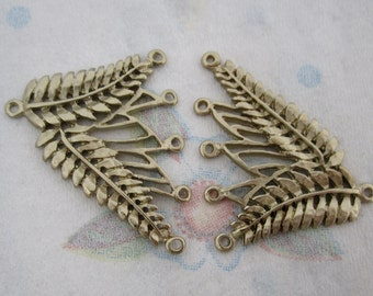 2 pcs. casted 5 strand leaf necklace end findings gold tone finish 40x36mm - f4413