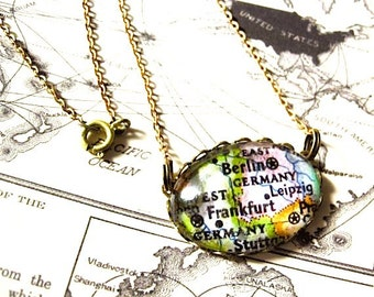 Vintage Berlin Germany Map Necklace // repurposed eco Belin map Necklace jewelry, oval glass pendant necklace