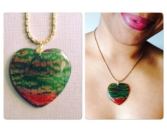 Agate Heart Pendant Necklace - Red and Green Gemstone Heart Pendant - Valentines Gift for her under 50 Free Shipping USA