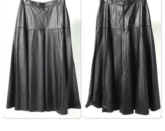 Vintage Carlo Baron Black Leather Midi Skirt marked size 48 but fits like size 6-8